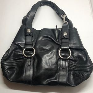 DKNY black leather satchel silver hardware